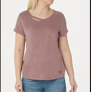 Peace Love World Tee W/CutOut Detail on Neckline